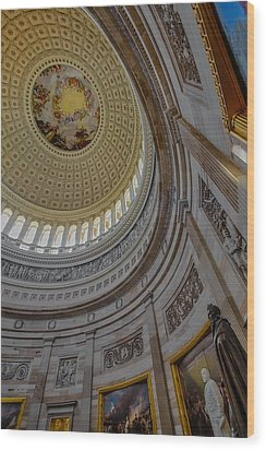 Unites States Capitol Rotunda Wood Print by Susan Candelario
