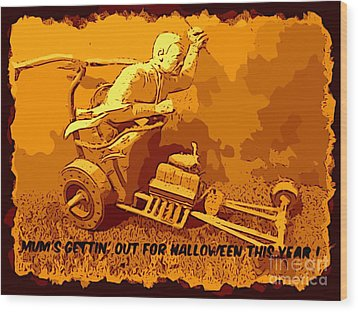 Universal Mosters Mummys Chariot Card Wood Print by John Malone