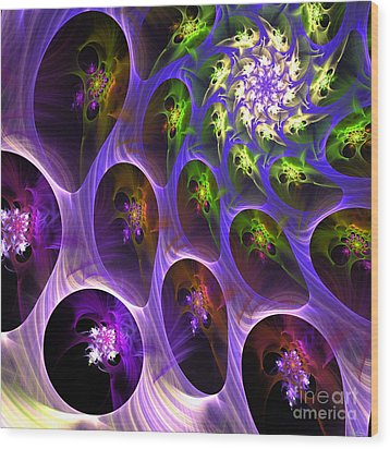 Wood Print featuring the digital art Universal Pods by Arlene Sundby
