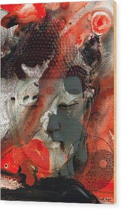 Universal Qi - Zen Black And Red Art Wood Print by Sharon Cummings