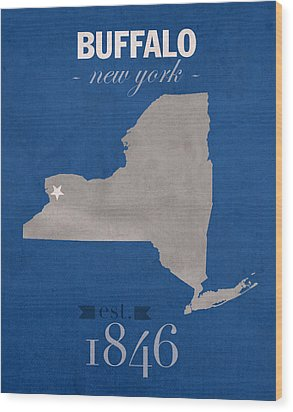 University At Buffalo New York Bulls College Town State Map Poster Series No 022 Wood Print by Design Turnpike