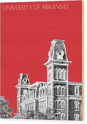 University Of Arkansas - Red Wood Print by DB Artist