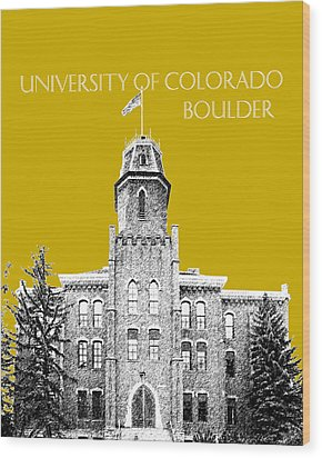 University Of Colorado Boulder - Gold Wood Print by DB Artist