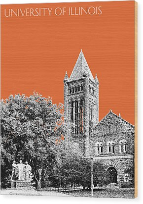 University Of Illinois 2 - Altgeld Hall - Coral Wood Print