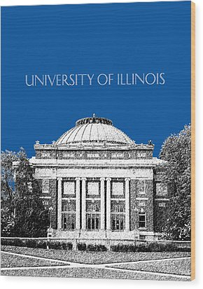 University Of Illinois Foellinger Auditorium - Royal Blue Wood Print