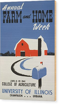 University Of Illnois Farm And Home Week Wood Print by American Classic Art