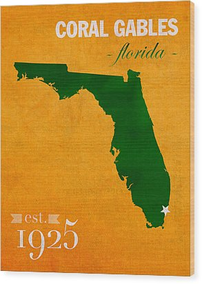 University Of Miami Hurricanes Coral Gables College Town Florida State Map Poster Series No 002 Wood Print by Design Turnpike
