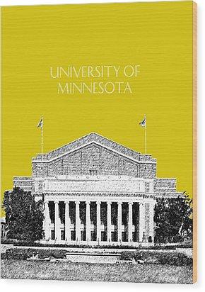 University Of Minnesota 2 - Northrop Auditorium - Mustard Yellow Wood Print by DB Artist