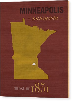 University Of Minnesota Golden Gophers Minneapolis College Town State Map Poster Series No 066 Wood Print