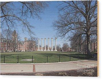 University Of Missouri Quad Wood Print by Kay Pickens