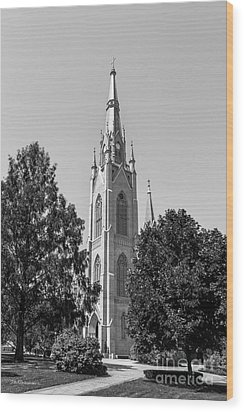 University Of Notre Dame Basilica Of The Sacred Heart Wood Print by University Icons
