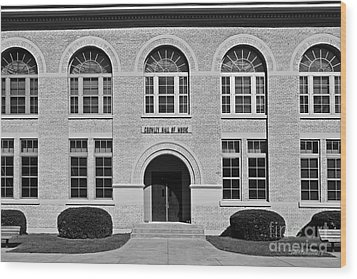 University Of Notre Dame Crowley Hall Of Music Wood Print by University Icons