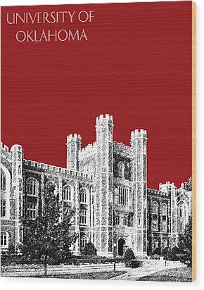 University Of Oklahoma - Dark Red Wood Print