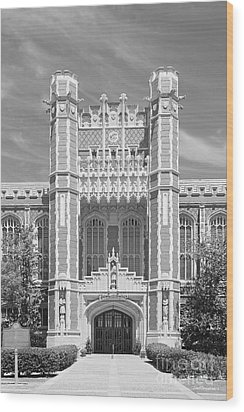 University Of Oklahoma Bizzell Memorial Library  Wood Print by University Icons