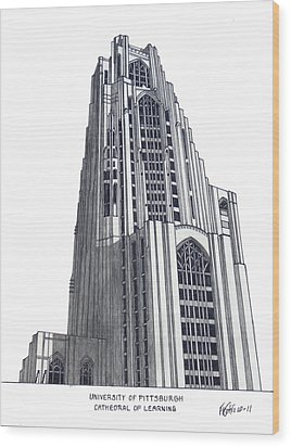 University Of Pittsburgh Wood Print by Frederic Kohli