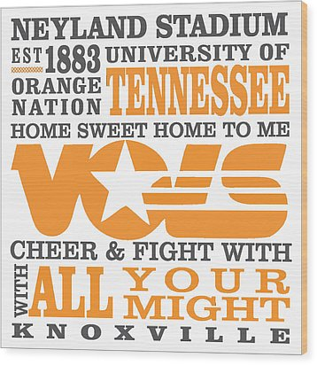 University Of Tennessee Graphic Canvas Wood Print by Debbie Karnes
