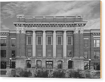 University Of Wisconsin Milwaukee Mitchell Hall Wood Print by University Icons