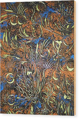 Wood Print featuring the painting Universum by Nico Bielow
