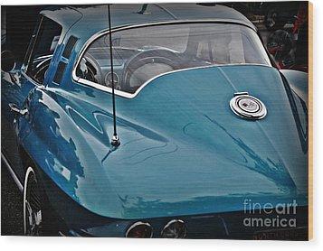 Unmistakeable Tail 65 Corvette Stingray Wood Print by JW Hanley