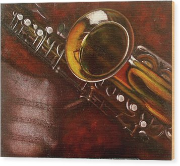 Unprotected Sax Wood Print by Sean Connolly