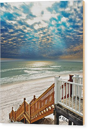 Wood Print featuring the photograph Rosemary Seaside Beach Florida Staircase White Sand Blue Clouds Art by Eszra