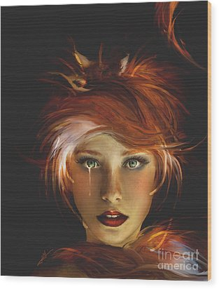 Untamed The Redhead And The Fox Wood Print