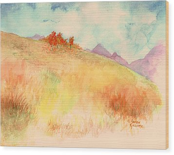 Wood Print featuring the painting Untitled Autumn Piece by Andrew Gillette