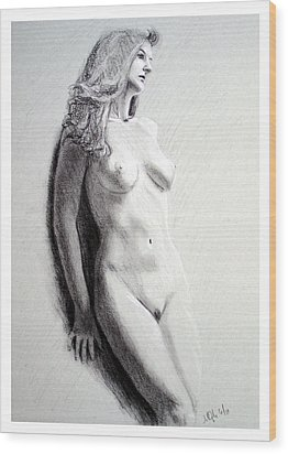 Wood Print featuring the painting Untitled Nude by Joseph Ogle