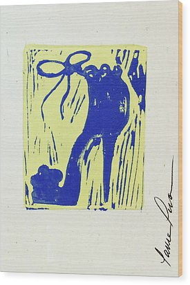 Untitled Shoe Print In Blue And Green Wood Print by Lauren Luna