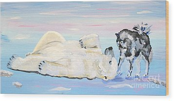 Unusual Buddies  Must Open Wood Print by Phyllis Kaltenbach