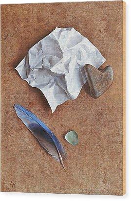 Unwritten Letter 2 Wood Print by Elena Kolotusha
