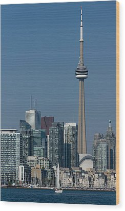 Up Close And Personal - Cn Tower Toronto Harbor And Skyline From A Boat Wood Print
