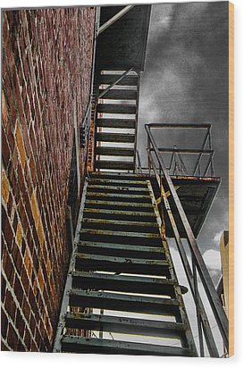 Up Fire Escape Wood Print
