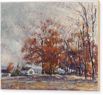 Wood Print featuring the painting Up State Ny - Nyack by Walter Casaravilla