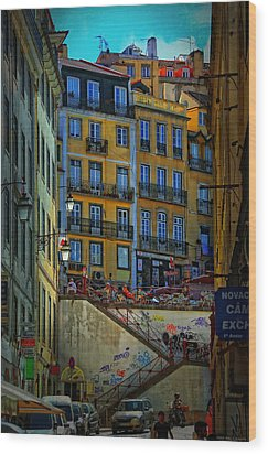 Up The Stairs - Lisbon Wood Print