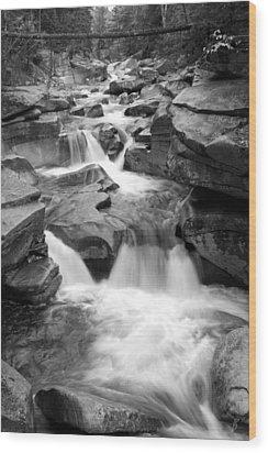 Upper Ammonoosuc Falls Black And White Wood Print by Brett Pelletier