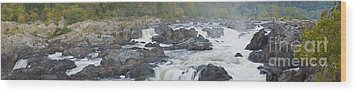 Upper Great Falls Panorama Wood Print by Benjamin Reed