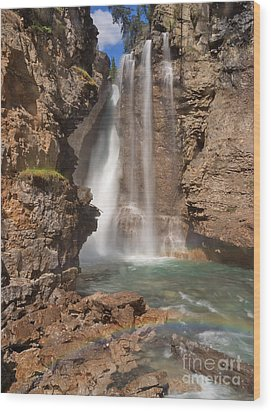 Upper Waterfall At Johnston Canyon Wood Print