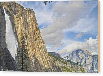 Upper Yosemite Fall And Half Dome Wood Print