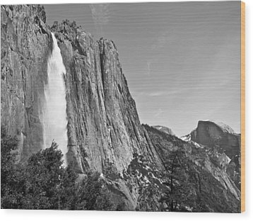 Upper Yosemite Fall With Half Dome Wood Print