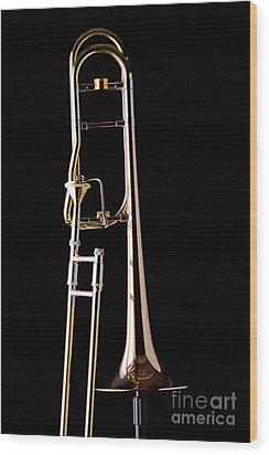 Upright Rotor Tenor Trombone On Black In Color 3465.02 Wood Print
