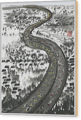 Wood Print featuring the painting Ups And Downs by Ping Yan