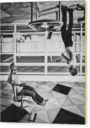 Upside Down Conversation Wood Print by Bob Orsillo