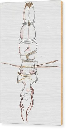 Wood Print featuring the mixed media Upside Down You Turn Me by Carolyn Weltman