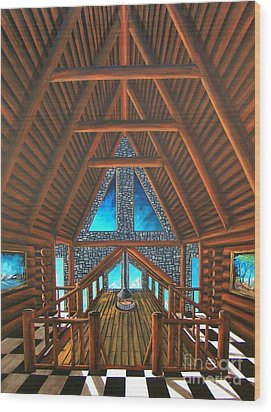 Wood Print featuring the painting Upstairs Dream by Steven Lebron Langston