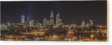 Uptown Charlotte Panorama Wood Print