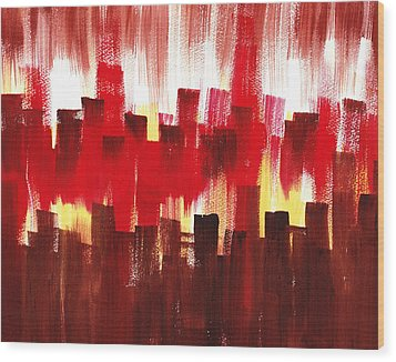 Wood Print featuring the painting Urban Abstract Evening Lights by Irina Sztukowski