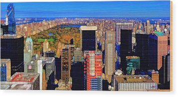 Urban Abstract New York City Skyline And Central Park Wood Print by Dan Sproul