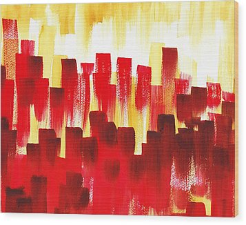 Wood Print featuring the painting Urban Abstract Red City Lights by Irina Sztukowski