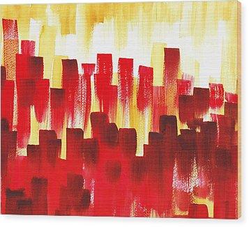 Urban Abstract Red City Lights Wood Print by Irina Sztukowski